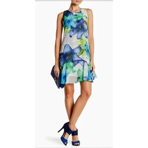 Vince Camuto Sleeveless Floral Print Midi Dre